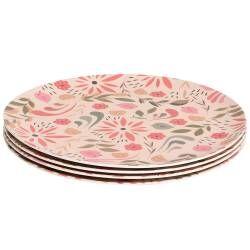 ProCook Bamboo Fibre Flower Design Plates - Set of 4 - 25cm
