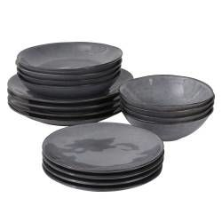Malmo Charcoal Dinner Set - 16 Piece - 4 Settings