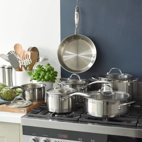 Professional Stainless Steel Cookware Set Uncoated 6 Piece