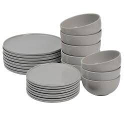 ProCook Stockholm Grey Stoneware Dinner Set - 24 Piece - 8 Settings