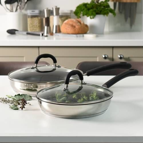 Gourmet Stainless Steel Frying Pan with Lid Set 24cm and 28cm