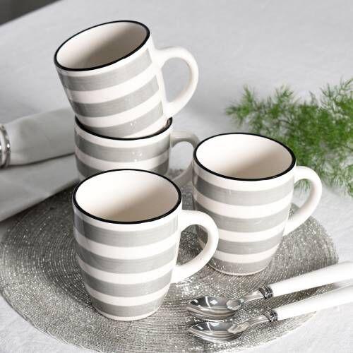 Coastal Stoneware Grey Mug Set of 4 - 360ml
