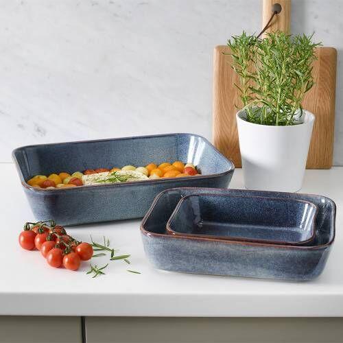 ProCook Stoneware Oven Dishes Set 3 Piece Reactive Blue
