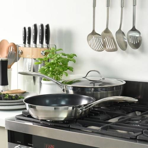 Professional Stainless Steel Sauteuse and Frying Pan Set 2 Piece