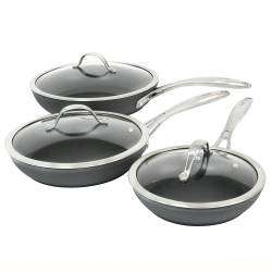 ProCook Professional Anodised Frying Pan with Lid Set - 3 Piece