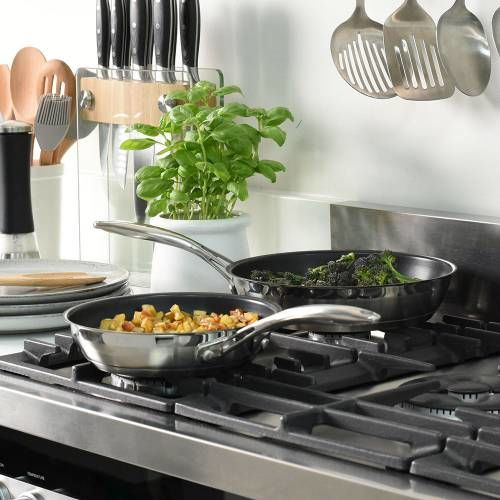 Professional Stainless Steel Frying Pan Set 20 and 24cm