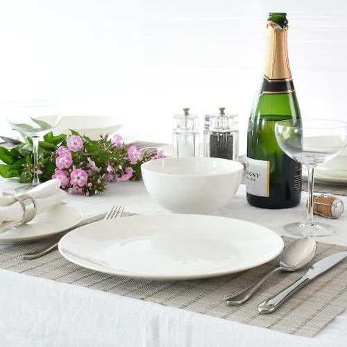 Malvern Bone China Dinner Set with Cereal Bowls 12 Piece - 4 Settings