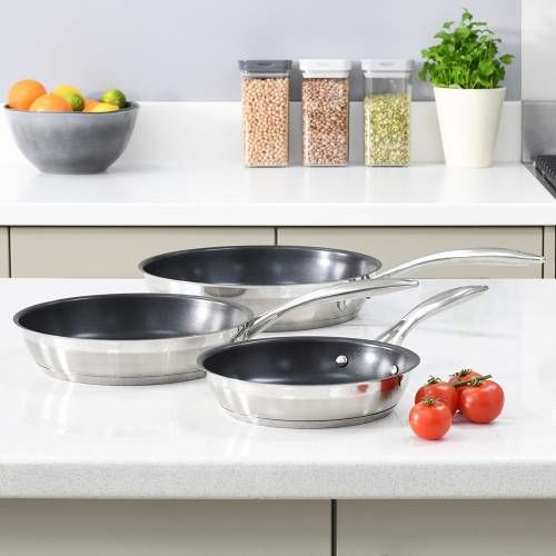 Professional Stainless Steel Frying Pan Set 3 Piece