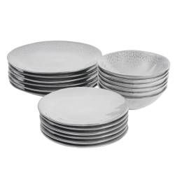 ProCook Malmo Dove Grey Stoneware Dinner Set - 18 Piece - 6 Settings