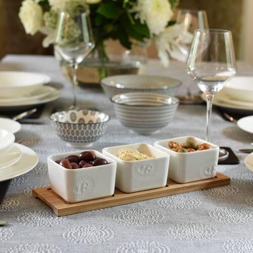 ProCook Porcelain and Bamboo Dip Serving Set 3 Piece
