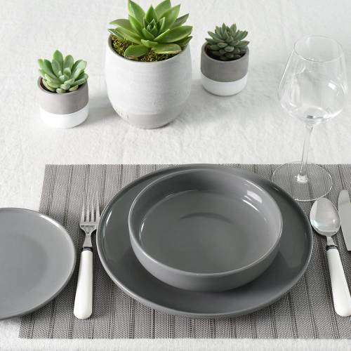 Stockholm Slate Stoneware Dinner Set With Pasta Bowls 12 Piece - 4 Settings