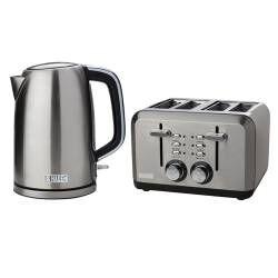 Haden Perth Kettle & 4 Slice Toaster - Stainless Steel