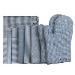 ProCook Kitchen Linen 4 Piece Set - Blue and Biscuit