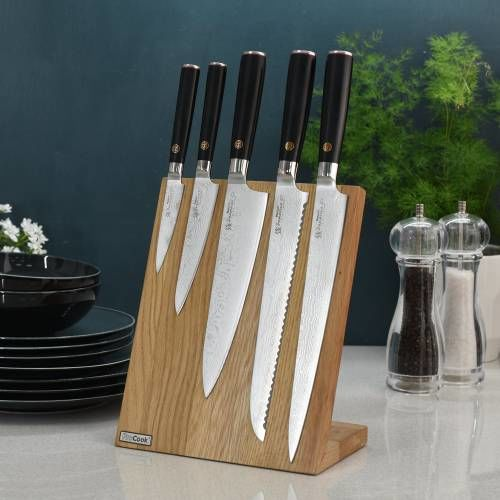 Damascus 67 Knife Set 5 Piece and Magnetic Block