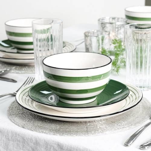 Coastal Stoneware Green Dinner Set with Cereal Bowls 12 Piece - 4 Settings