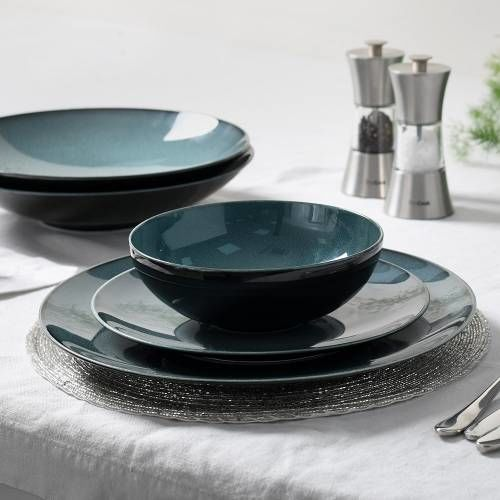 Del Mar Blue Porcelain Dinner Set 16 Piece - 4 Settings