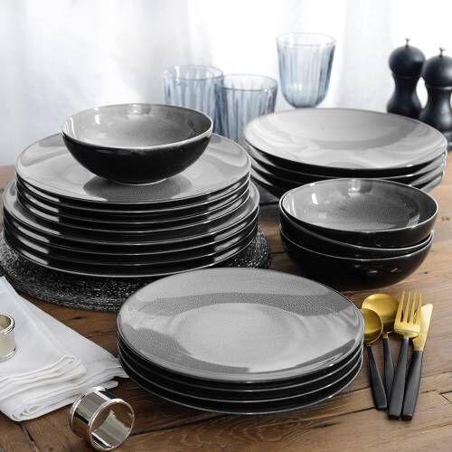 Del Mar Grey Porcelain Dinner Set 20 Piece - 4 Settings