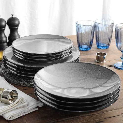 Del Mar Grey Porcelain Dinner Set with Pasta Bowls 12 Piece - 4 Settings