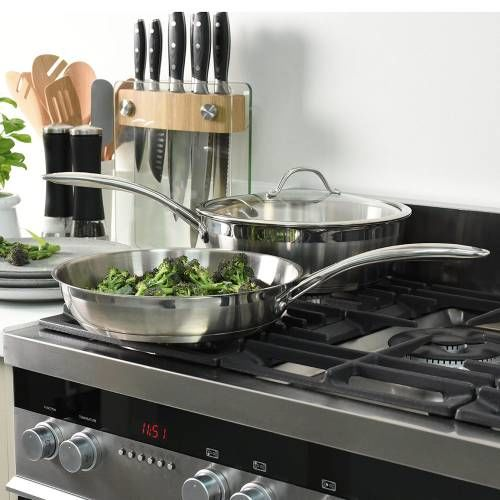 Professional Stainless Steel Sauteuse and Frying Pan Set Uncoated 2 Piece