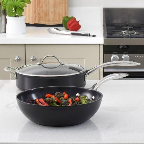 Professional Ceramic Wok and Saute Pan Set 2 Piece