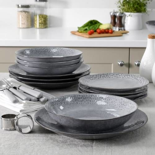 Malmo Charcoal Teardrop Dinner Set with Pasta Bowls 12 Piece - 4 Settings