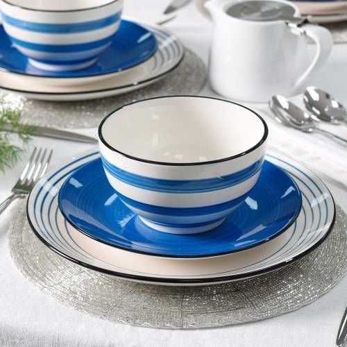 Coastal Stoneware Blue Dinner Set with Cereal Bowls 12 Piece - 4 Settings