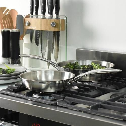 Professional Stainless Steel Frying Pan Set Uncoated 20 and 24cm