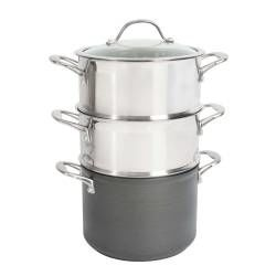 Professional Anodised Steamer Set - 20cm / 2 tier