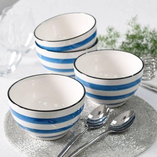 Coastal Stoneware Blue Cereal Bowl Set of 4 - 14cm