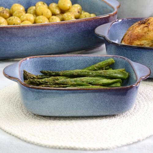 ProCook Stoneware Oven Dish 25.5cm x 16.5cm Reactive Blue