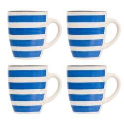 Coastal Stoneware Blue Mug - Set of 4 - 380ml