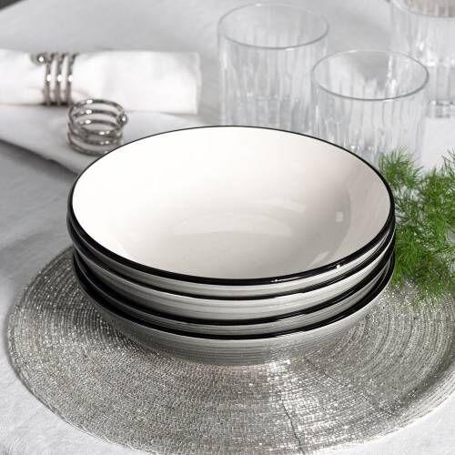 Coastal Stoneware Grey Pasta Bowl Set of 4 - 20cm