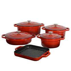 ProCook Cast Iron Casserole Set - 5 Piece Red