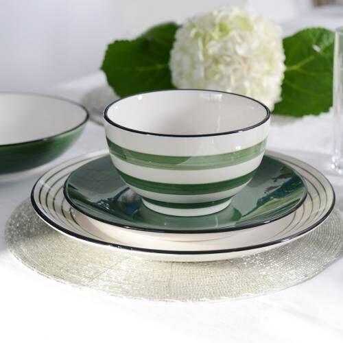 Coastal Stoneware Green Dinner Set 16 Piece - 4 Settings