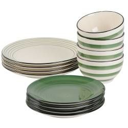 Coastal Stoneware Green Dinner Set with Cereal Bowls - 12 Piece - 4 Settings