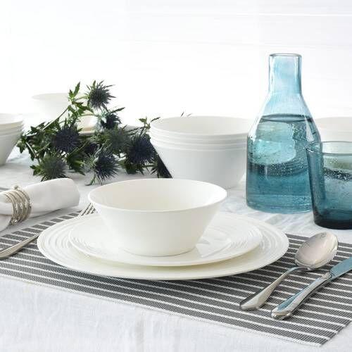 Harrogate Bone China Dinner Set with Pasta Bowls 12 Piece - 4 Settings