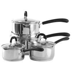ProCook Gourmet Steel Saucepan Set - 4 Piece with Free Utensils