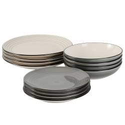 Coastal Stoneware Grey Dinner Set with Pasta Bowls - 12 Piece - 4 Settings
