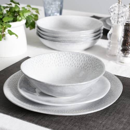 Malmo Dove Grey Mixed Dinner Set 16 Piece - 4 Settings
