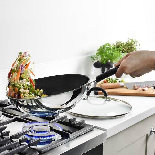 Gourmet Stainless Steel Wok & Lid 28cm