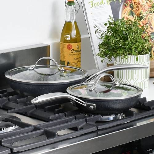 Professional Granite Frying Pan with Lid Set 20cm and 24cm