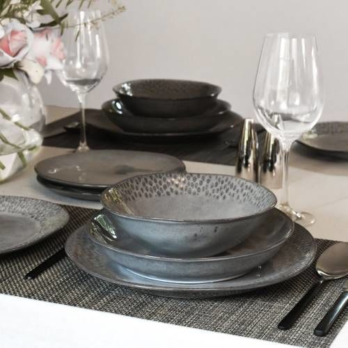 Malmo Charcoal Mixed Dinner Set 16 Piece - 4 Settings