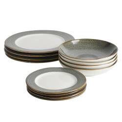 Napa Porcelain Dinner Set with Pasta Bowls - 12 Piece - 4 Settings
