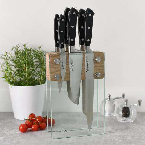 Gourmet X30 Knife Set 6 Piece and Magnetic Glass Block