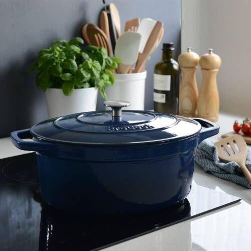 ProCook Cast Iron Casserole 30cm / 6.2L Oval Graduated Blue