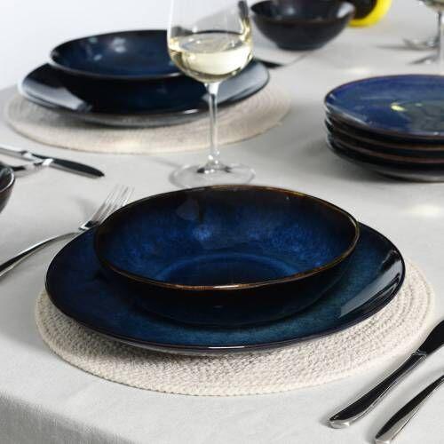 Vaasa Stoneware Dinner Set with Pasta Bowls 12 Piece - 4 Settings