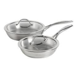 Professional Stainless Steel Frying Pan with Lid Set - Uncoated 20cm and 24cm