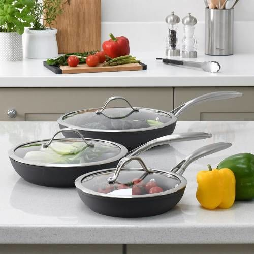 Professional Anodised Frying Pan with Lid Set 3 Piece