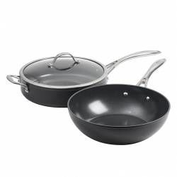 Professional Ceramic Wok and Saute Pan Set - 2 Piece