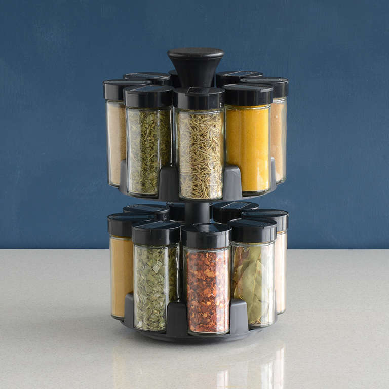 Rotating Spice Rack 16 Jars With Spices Pestle Amp Mortars